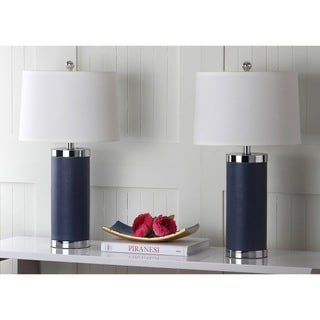 Safavieh Lighting 26-inch Navy Leather Column Table Lamp (Set of 2)