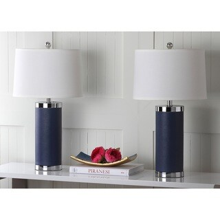 "Safavieh Lighting 26-inch Navy Leather Column Table Lamp (Set of 2) - 14""x14""x25"""