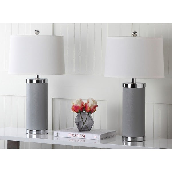 "Safavieh Lighting 26-inch Grey Leather Column Table Lamp (Set of 2) - 14""x14""x25"""