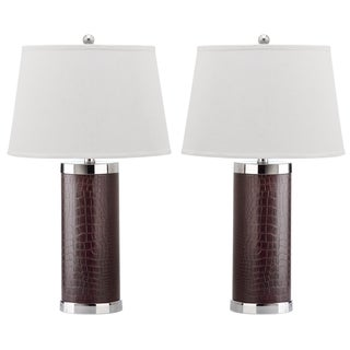 Safavieh Lighting 26-inch Croc Brown Leather Column Table Lamp (Set of 2)