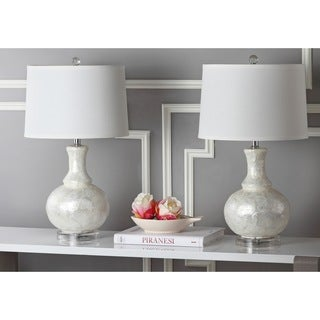 Safavieh Lighting 24.75-inch White Shelley Gourd Table Lamp (Set of 2)
