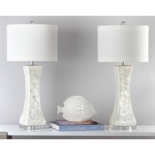Safavieh Lighting 30.5-inch White Shelley Concave Table Lamp (Set of 2)