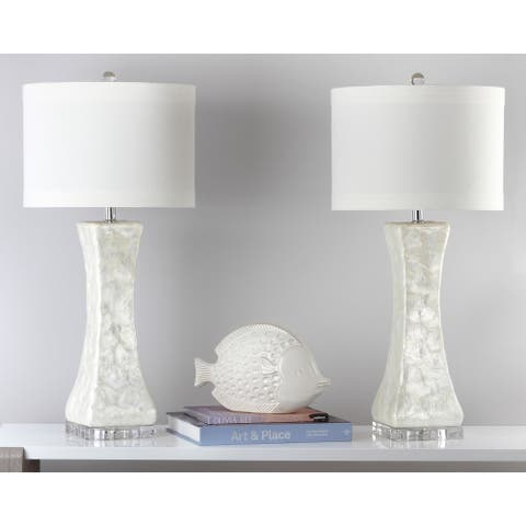 """Safavieh Lighting 30.5-inch White Shelley Concave Table Lamp (Set of 2) - 14"""" x 14"""" x 30"""""""