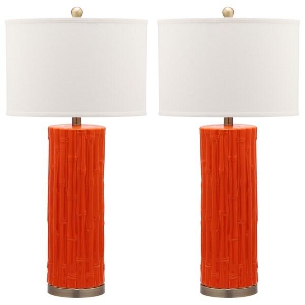 Safavieh Lighting 30.5-inch Orange Bamboo Column Table Lamp (Set of 2)