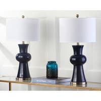 Safavieh Lighting 30-inch Navy Lola Column Lamp (Set of 2)