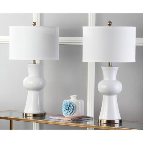 Safavieh Lighting 30-inch White Lola Column Lamp (Set of 2)
