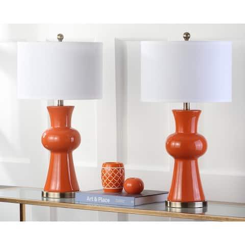 "Safavieh Lighting 30-inch Orange Lola Column Lamp (Set of 2) - 15""x15""x30"""