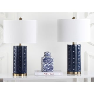 Safavieh Lighting 26-inch Navy Roxanne Table Lamp (Set of 2)