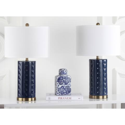 "Safavieh Lighting 26-inch Navy Roxanne Table Lamp (Set of 2) - 15""x15""x26"""