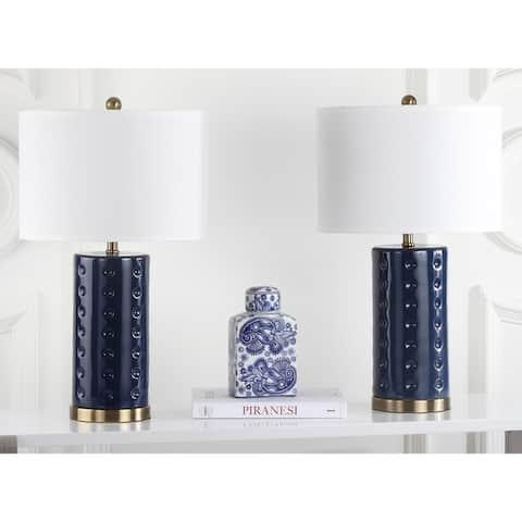 Safavieh Lighting 26-inch Navy Roxanne Table Lamp (Set of 2)