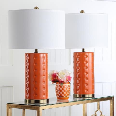 "Safavieh Lighting 26-inch Orange Roxanne Table Lamp (Set of 2) - 15"" x 15"" x 26"""