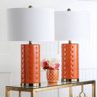 Ceramic table lamps for less overstock safavieh lighting roxanne 26 inch orange table lamp set of 2 mozeypictures Image collections