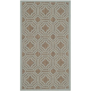 Safavieh Courtyard Brown/ Aqua Indoor/ Outdoor Rug (2'7 x 5')