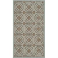 Safavieh Courtyard Brown/ Aqua Indoor/ Outdoor Rug - 2' x 3'7