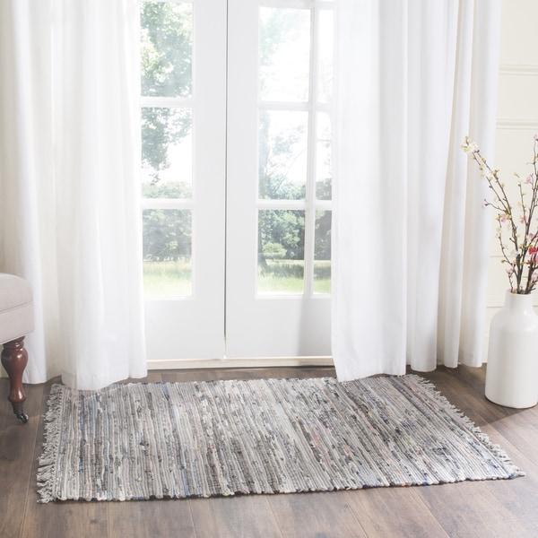 Shop Safavieh Hand-woven Rag Rug Grey Cotton Rug