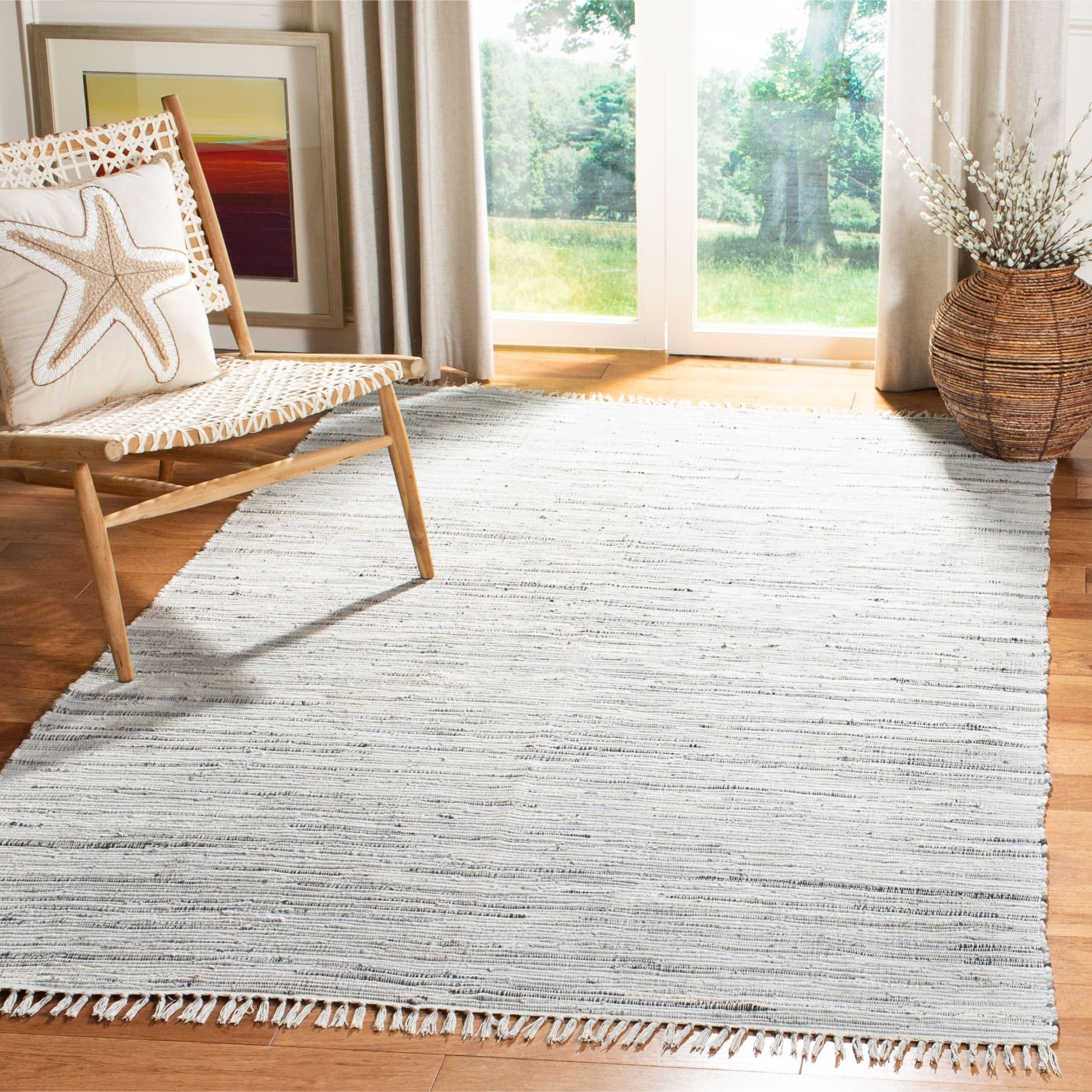 Safavieh Hand-woven Rag Rug Grey Cotton Rug (4' x 6') (RA...