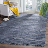 Safavieh Hand-woven Rag Rug Ink Cotton Rug - BLue - 4' x 6'