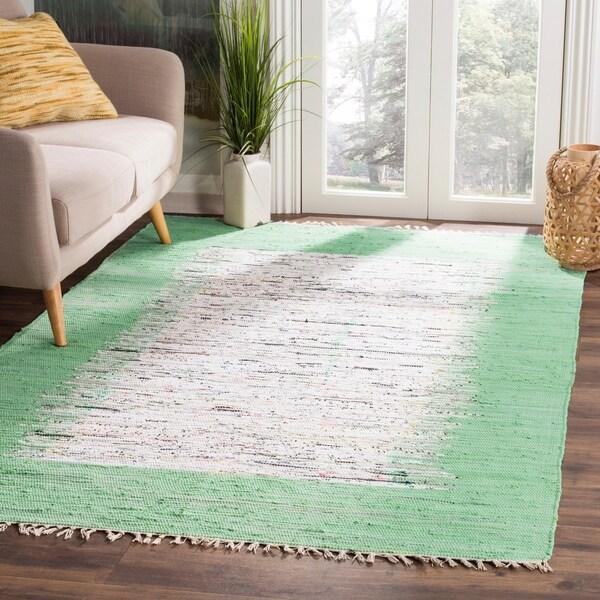 Safavieh Hand-woven Montauk Ivory/ Sea Green Cotton Rug - 8' x 10'