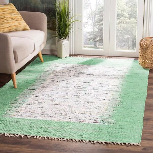 Safavieh Montauk Hand-Woven Flatweave Ivory/ Sea Green Border Cotton Rug - 8' x 10'