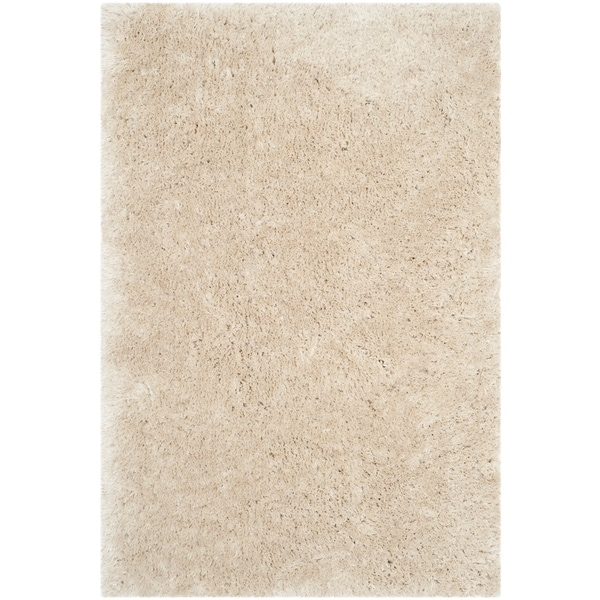 Safavieh Handmade Artic Shag Guenevere Solid Polyester Rug   2' X 3'   Light Beige by Safavieh