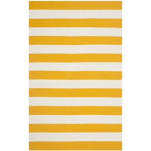 Safavieh Hand Woven Montauk Yellow White Cotton Rug 5 X