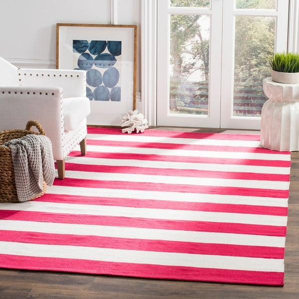 Safavieh Hand-woven Montauk Red/ White Cotton Rug - 5' x 8'