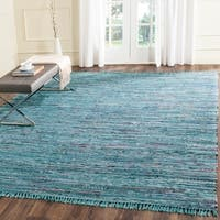 Safavieh Hand-woven Rag Rug Blue Cotton Rug - 9' x 12'