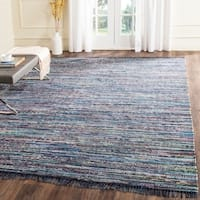 Safavieh Hand-woven Rag Rug Ink Cotton Rug (9' x 12')