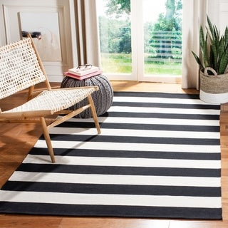 Safavieh Hand-woven Montauk Black/ White Cotton Rug (5' x 8')