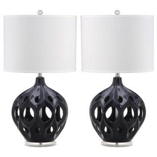 "Safavieh Lighting 29-inch Navy Regina Ceramic Table Lamp - 16""x16""x29"""