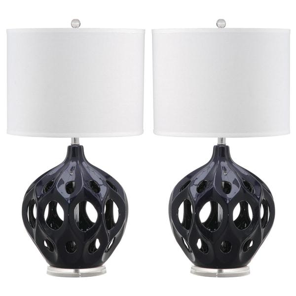 Safavieh Lighting 29-inch Navy Regina Ceramic Table Lamp