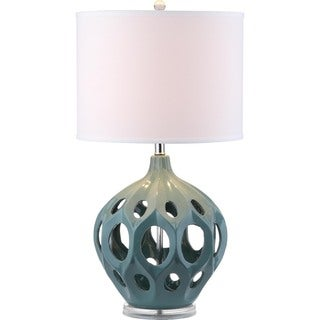 Safavieh Lighting 29-inch Teal Regina Ceramic Table Lamp