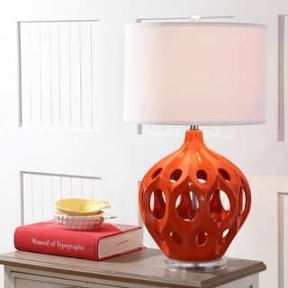 Safavieh Lighting 29 Inch Orange Regina Ceramic Table Lamp
