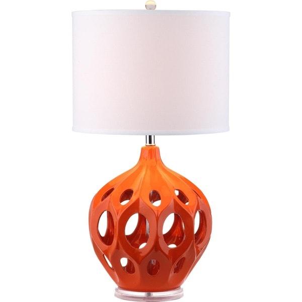 Safavieh Lighting 29-inch Orange Regina Ceramic Table Lamp