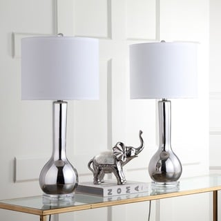 Safavieh Lighting 30.5-inch Silver Mae Long Neck Ceramic Table Lamp (Set of 2)