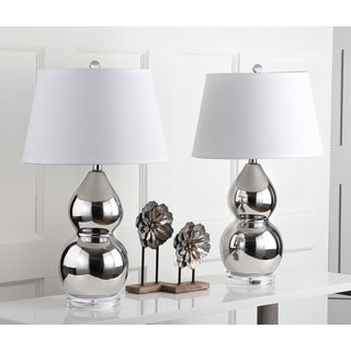 Safavieh Lighting 25.5-inch Silver Jill Double- Gourd Ceramic Lamp (Set of 2)