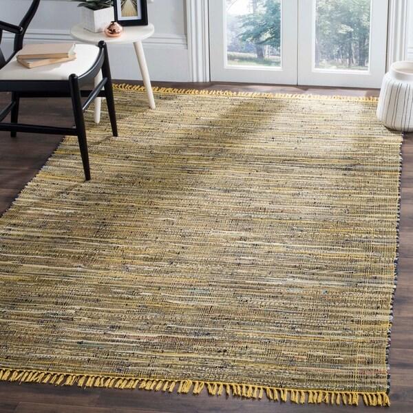 Shop Safavieh Hand Woven Rag Rug Yellow Cotton Rug 5 X 8 On