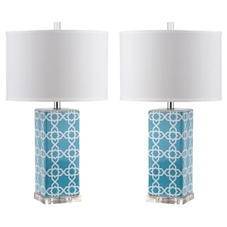 Safavieh Lighting 27-inch Light Blue Quatrefoil Table Lamp (Set of 2)