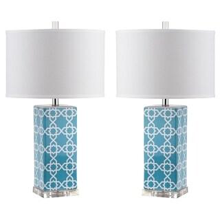 Safavieh Lighting 27-inch Light Blue Quatrefoil Table Lamp (Set of 2)