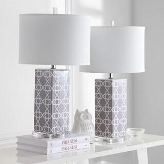 Safavieh Lighting 27-inch Grey Quatrefoil Table Lamp (Set of 2)