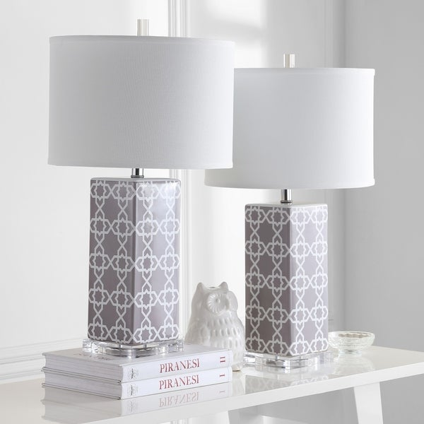 "Safavieh Lighting 27-inch Grey Quatrefoil Table Lamp (Set of 2) - 15""x15""x27"""
