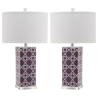 Safavieh Lighting 27-inch Light Purple Quatrefoil Table Lamp (Set of 2)