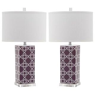 Safavieh Lighting 27 Inch Light Purple Quatrefoil Table Lamp (Set Of 2)