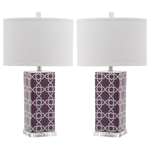 Safavieh Lighting 27-inch Light Purple Quatrefoil Table Lamp (Set of 2)
