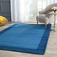 Safavieh Handmade Himalaya Light Blue/ Dark Blue Wool Gabbeh Rug - 4' Square