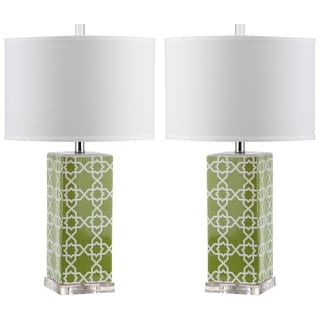 Safavieh Lighting 27-inch Green Quatrefoil Table Lamp (Set of 2)