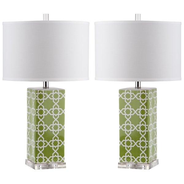 Safavieh Lighting 27-inch Green Quatrefoil Table Lamp (Set of 2)