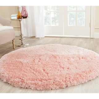 Safavieh Handmade Arctic Shag Pink Polyester Rug - 5' Round