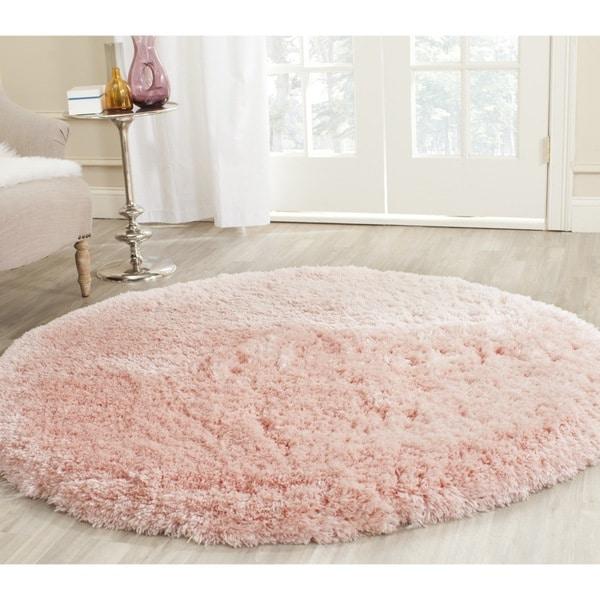 Safavieh Handmade Arctic Shag Pink Polyester Rug (5' Round