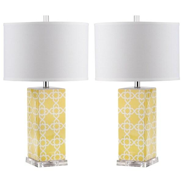 Safavieh Lighting 27-inch Yellow Quatrefoil Table Lamp (Set of 2)